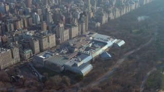 AX65_0056 - 5K stock footage aerial video of approaching the Metropolitan Museum of Art in New York City, winter