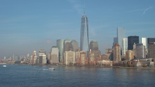 AX65_0086 - 5K stock footage aerial video of Freedom Tower and the World Trade Center skyline, New York City, winter