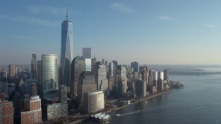 AX65_0094 - 5K stock footage aerial video of Freedom Tower and World Trade Center skyscrapers in Lower Manhattan, New York City, winter