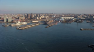 AX65_0156 - 5K stock footage aerial video of the Brooklyn Navy Yard in Brooklyn, New York City, winter