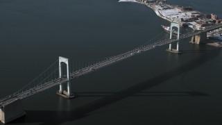 AX66_0039 - 5K stock footage aerial video of an orbit of Throgs Neck Bridge, New York