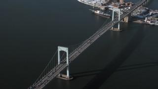 AX66_0040 - 5K stock footage aerial video of an orbit of Throgs Neck Bridge, New York