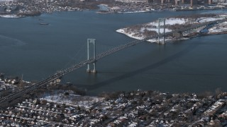 AX66_0042 - 5K stock footage aerial video of Bronx Whitestone Bridge, New York