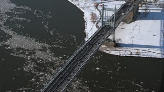 AX66_0054 - 5K stock footage aerial video approach the Robert F Kennedy Bridge in winter, New York