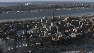 AX66_0061 - 5K stock footage aerial video orbiting Columbia University, New York City
