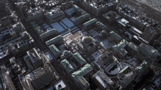 AX66_0063 - 5K stock footage aerial video of Columbia University with snow, New York City