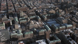 AX66_0074 - 5K stock footage aerial video orbit around the Columbia University campus during winter, Morningside Heights, New York City