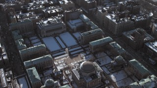AX66_0077 - 5K stock footage aerial video of Columbia University campus buildings with snow, New York City