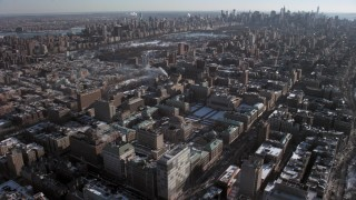 AX66_0083 - 5K stock footage aerial video tilt from Columbia University to reveal Central Park and Midtown, New York City