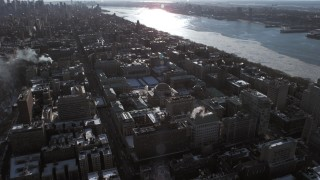AX66_0085 - 5K stock footage aerial video approach the Columbia University campus, New York City