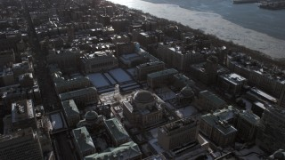 AX66_0086 - 5K stock footage aerial video tilt from Columbia University to reveal Midtown Manhattan, New York City