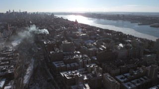 AX66_0089 - 5K stock footage aerial video of a wide orbit around Columbia University campus, New York City