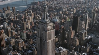 AX66_0113 - 5K stock footage aerial video of orbiting the famous Empire State Building, New York City