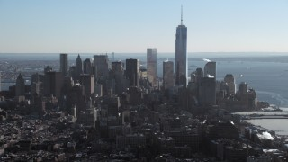 AX66_0115 - 5K stock footage aerial video of One World Trade Center and Lower Manhattan skyline, New York City