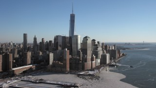 AX66_0120 - 5K stock footage aerial video of the World Trade Center and skyscrapers, New York City