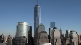 AX66_0122 - 5K stock footage aerial video of Freedom Tower and skyscrapers, New York City