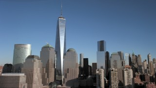AX66_0123 - 5K stock footage aerial video of One World Trade Center and skyscrapers, New York City