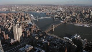 AX66_0140 - 5K stock footage aerial video of Brooklyn Bridge and Manhattan Bridge, New York City