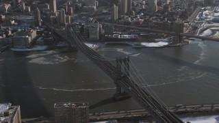 AX66_0143 - 5K stock footage aerial video tilt up the Manhattan Bridge, New York City