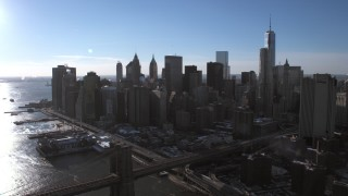 AX66_0149 - 5K stock footage aerial video approach the Lower Manhattan skyline, New York City