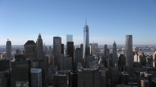 AX66_0150 - 5K stock footage aerial video of flying by the Lower Manhattan skyline, New York City