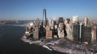 AX66_0154 - 5K stock footage aerial video of World Trade Center and Lower Manhattan skyscrapers, New York City