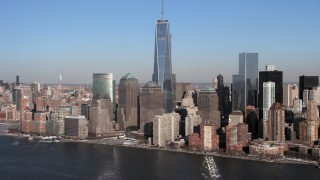 AX66_0157 - 5K stock footage aerial video a view of World Trade Center and Lower Manhattan skyscrapers, New York City