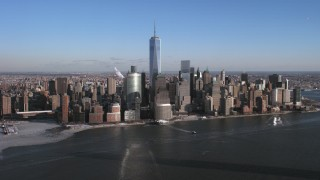 AX66_0168 - 5K stock footage aerial video approach Lower Manhattan skyline from the Hudson, New York City