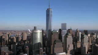AX66_0170 - 5K stock footage aerial video One World Trade Center and skyscrapers, Lower Manhattan, New York City