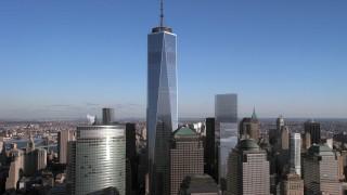 AX66_0171 - 5K stock footage aerial video of the One World Trade Center skyscraper, Lower Manhattan, New York City