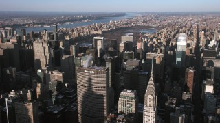 AX66_0185 - 5K stock footage aerial video fly over Midtown Manhattan toward Central Park, New York City
