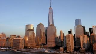 AX66_0264 - 5K stock footage aerial video of One World Trade Center, Lower Manhattan skyline, New York City, sunset