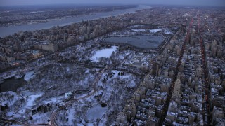 AX66_0331 - 5K stock footage aerial video of Central Park in winter, New York City, twilight