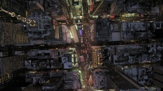 AX66_0340 - 5K stock footage aerial video of a bird's eye view of Times Square in winter, New York City, twilight