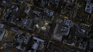 AX66_0351 - 5K stock footage aerial video of a bird's eye view of the Chrysler Building in winter, New York City, twilight