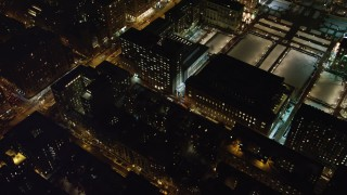 AX67_0011 - Aerial stock footage of 4K stock video aerial view orbiting Lerner Hall at night, Columbia University, New York City, New York