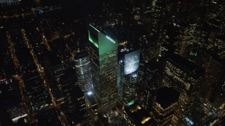 AX67_0037 - Aerial stock footage of 4K stock video aerial view of Citigroup Center at night in Midtown Manhattan, New York City, New York