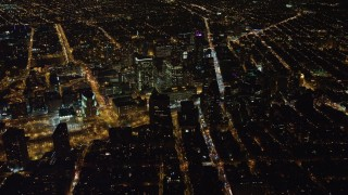 AX67_0097 - Aerial stock footage of 4K stock video aerial view of skyscrapers at night, in Brooklyn, New York
