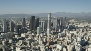 AX68_017 - 5K stock footage aerial video of a view of tall Downtown Los Angeles skyscrapers in California