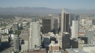 AX68_022 - 5K stock footage aerial video approach City National Plaza, US Bank Tower, and Aon Center skyscrapers in Downtown Los Angeles, California