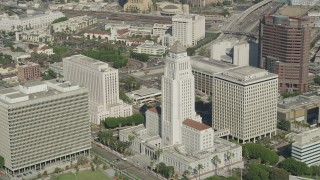 AX68_025 - 5K stock footage aerial video approach and flyby Los Angeles City Hall in Downtown Los Angeles, California