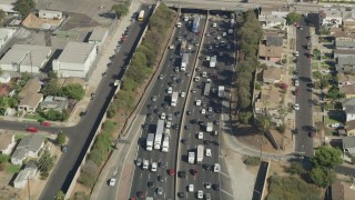 AX68_031 - 5K stock footage aerial video bird's eye view of heavy traffic on Interstate 5 in Boyle Heights, Los Angeles, California