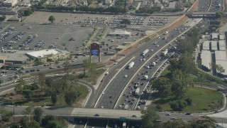 AX68_040 - 5K stock footage aerial video of heavy traffic on Interstate 710 in Bell Gardens, Los Angeles, California