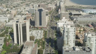AX68_056 - 5K stock footage aerial video fly over Ocean Boulevard through Downtown Long Beach, California