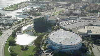 AX68_059 - 5K stock footage aerial video of the Hyatt Regency Long Beach and Convention Center in Downtown Long Beach, California