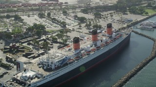 AX68_067 - 5K stock footage aerial video flyby the RMS Queen Mary docked in Long Beach, California