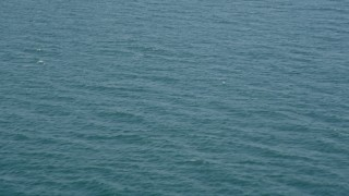 AX68_116 - 5K stock footage aerial video fly over gentle waves in the Pacific Ocean