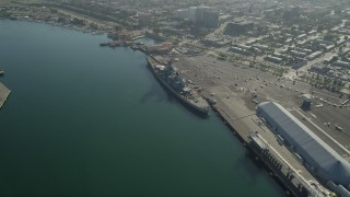 AX68_158 - 5K stock footage aerial video approach Battleship USS Iowa at the Port of Los Angeles, California