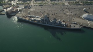 AX68_159 - 5K stock footage aerial video of USS Iowa Battleship docked at the Port of Los Angeles, California