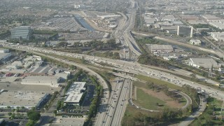 AX68_182 - 5K stock footage aerial video approach heavy traffic on the I-110 and 405 Interchange in Torrance, California